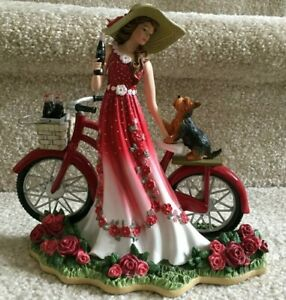 A Refreshing Promenade Coca Cola Coke Lady with Bike & Dog Figurine FREE SHIP