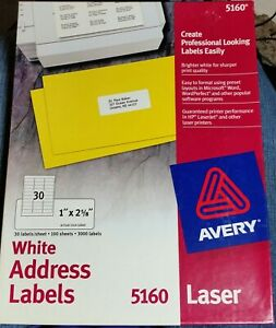 Avery White Address Labels 5160 Laser 1 X 2 5 8 2970 Labels