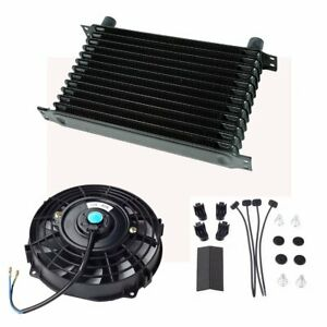 Universal 13 Row 10an Engine Transmission Oil Cooler 7 Electric Black Fan Kit