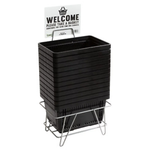 12 Pack Black With Stand Plastic Grocery Convenience Store Shopping Basket Tote