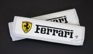 Car Seat Belt Covers Shoulder Pads Cushion For Ferrari White Leather Embroidery