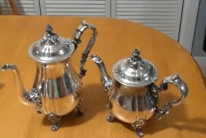 Lovely Vintage Silver Plate Coffee Pot Teapot Set Unbranded Estate Find