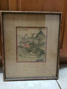 Antique Chinese Painting On Silk Mountain Landscape With People Signed Framed