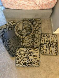 Tan Zebra Print Car Floor Mats And Steering Wheel Cover