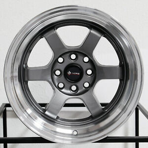 4 New 15 Vors Tr7 Wheels 15x8 4x100 4x114 3 0 Gun Metal Rims