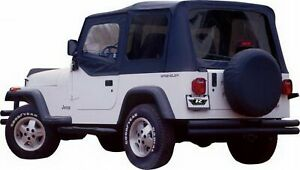 Rampage Complete Soft Top With Frame Hardware Black Denim For Jeep Cj7 Yj