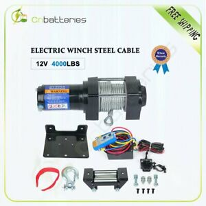 12v 4000lbs Electric Recovery Winch Towing Truck 4 8mm 15m Steel Rope Off Road