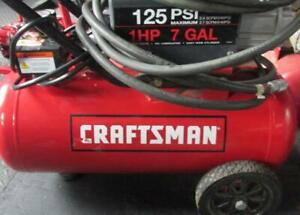 Craftsman Electric Air Compressor 7 Gallon 125 Psi 1hp Preowned Wheeled Red
