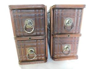Old Antique Wooden Sewing Treadle Machine Drawers Set Of 4 Ornate With Handles