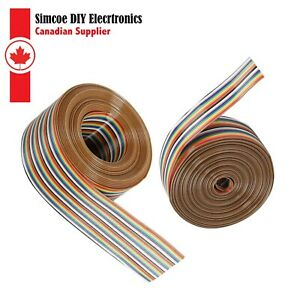 1m 1 27mm Pitch 10 20 40p Flat Color Rainbow Ribbon Cable Wire Dupont 111