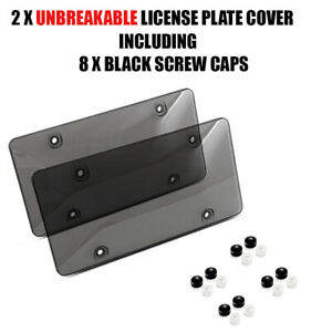 2x Smoked Clear License Plate Cover Frame Shield Tinted Bubbled Flat Car