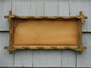 Long Size Antique Adirondack Wood Picture Frame With Old Glass Fits 21 X 8 1 2