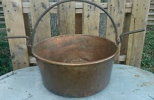Antique Copper Cauldron Kettle Pot W Handle Primitive Rustic Farmhouse Ranch