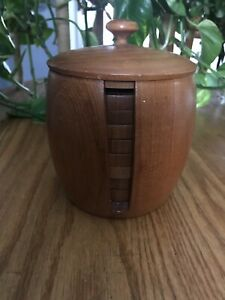 Vintage Mid Century Modern Danish Teak Wood Coaster Set Holder Lidded Barware