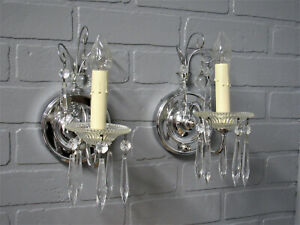 Vintage Antique Art Deco Wall Sconces Chrome With Crystal Prisms Restored 8 75 L