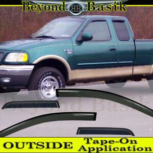 1997 2003 Ford F150 Extended Cab 4pc Smoke Door Vent Visors Window Rain Guards