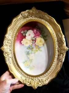 Fine Old Gold Gilt Ornate Wood Frame W Old Austrian Hand Painted Platter Roses