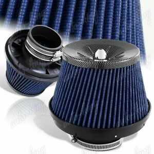3 Carbon Style Top Blue Mesh Turbo Short Ram Cold Air Intake Air Filter