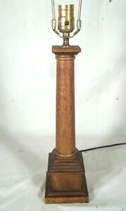 Vintage Mid Century Classical Mahogany Column Lamp On A Plinth Base