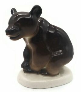 Vintage Lomonosov Ussr Russian Porcelain Brown Bear Figurine Figure