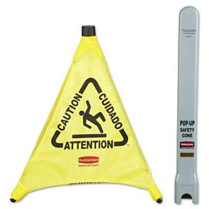 New Rubbermaid Commercial Yellow Pop up Safety Cone Multi lingual Caution Tube