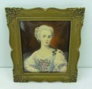 Vintage Victorian Lady Art Print Convex Bubble Glass Gold Painted Metal Frame