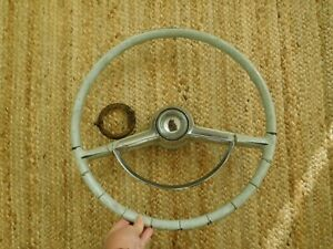 Plymouth Steering Wheel 1955 1956 Horn Ring Button Grey
