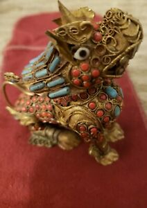 Antique Chinese Foo Fu Dog Brass Incense Burner Turquoise Carnelian Coral Inlaid