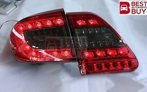 Led Rear Tail Lights Lamps Red Black For 2011 2012 2013 Toyota Corolla Altis