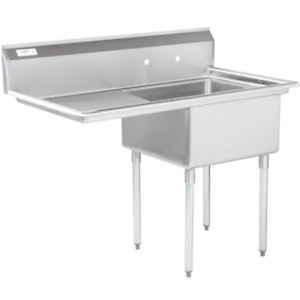 49 1 Compartment Stainless Steel Commercial Utility One Sink Left Drainboard