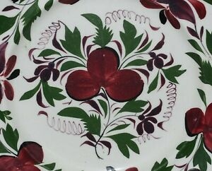 Antique Pearlware Salad Plates In The Adams Rose Pattern Circa 1820