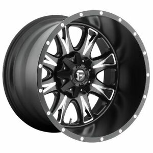Four 4 20x10 Fuel Throttle Et 12 Black Milled 8x165 1 8x6 5 Wheels Rims