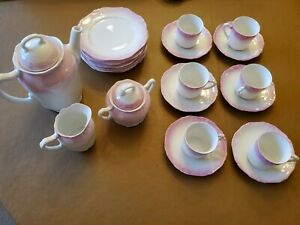 Antique Pink And White Tea Set