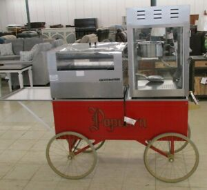 Gold Medal Hot Dog Grill W bun Tray Popcorn Machine With 6 Cart