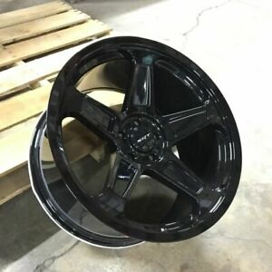 22 Gloss Black Srt Demon Style Wheels Fits Dodge Charger Rwd Only