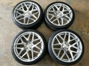 4 Wheels Tires 20 Inch Mrr Gf9 Silver Machined Rims 5x112 Audi Mercedes