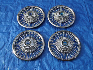 Pretty Set Of 1964 1965 1966 Ford Mustang 14 Wire Spinner Hubcaps Wheel Covers