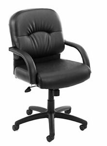 Boss Office Products B7407 Mid Back Caressoft Chair With Knee Tilt In Black