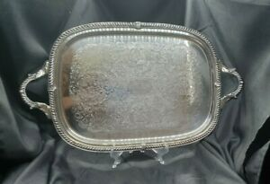 Birmingham Silver Co Silver Plated Filigree Serving Tray