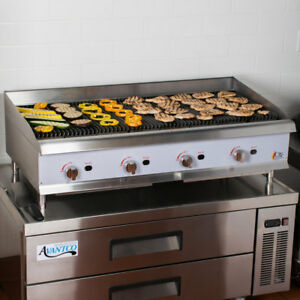 48 Natural Gas Lava Rock Commercial Restaurant Kitchen Countertop Charbroiler