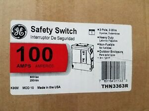 New Ge Thn3363r Safety Switch 100a 100 Amp 3p Non fused Nema 3r Factory Sealed