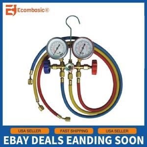 New Manifold Gauge Set Ac A c 5ft Color Hose Air Conditioner Hvac 60 R22