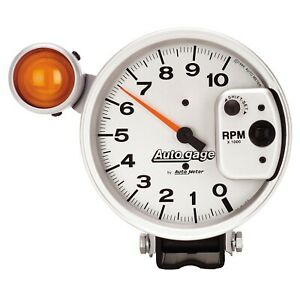 Auto Meter 5 Pedestal Tachometer 0 10 000rpm Shift Light Silver Auto Gauge