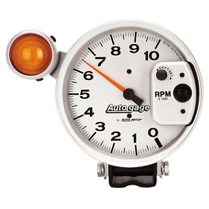 Auto Meter 5 pedestal Tachometer 0 10 000rpm Shift Light Silver Auto Gage 233911