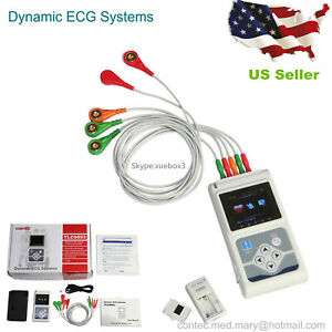 New Contec 3 Channel Holter Ecg System pc Software 24 Hours Recorder us Seller