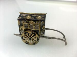 Vintage Sterling Silver Salt Or Pepper Shaker Rickshaw Japanese Gold Coating
