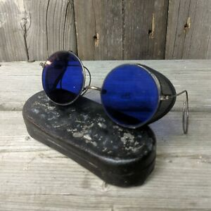 Vintage 1940s Round Blue Glass Welding Safety Glasses Steampunk Goggles With Met