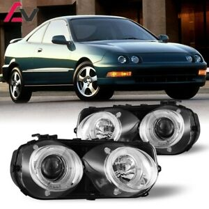 94 97 For Acura Integra Clear Lens Projector Halo Headlights Chrome Housing