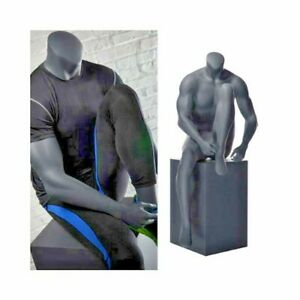 Fiberglass Adult Male Athletic Matte Gray Headless Seated Mannequin With Stool