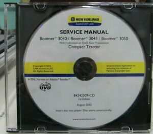 New Holland Boomer 3040 3045 3050 Service Manual On Cd 84242309 cd